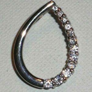 Vintage Diamond Silver Slide Pendant